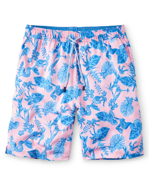 Men's Snake Garden-Print Swim Shorts