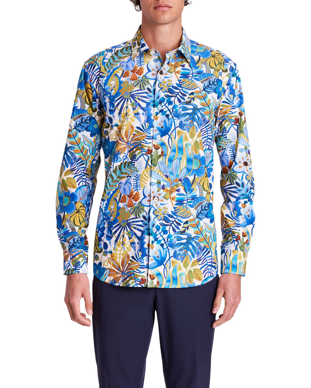 Men's Jungle-Print Sport Shirt