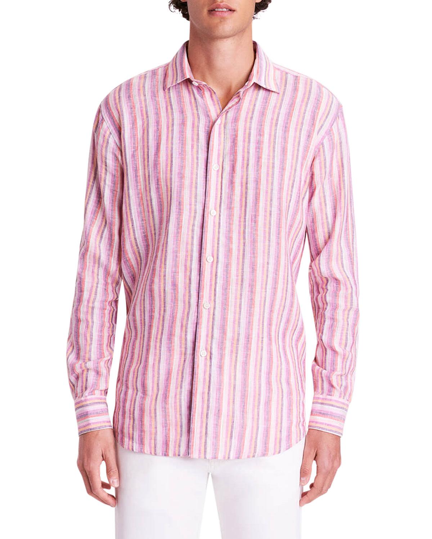 Men's Bengal Stripe-Print Linen Sport Shirt
