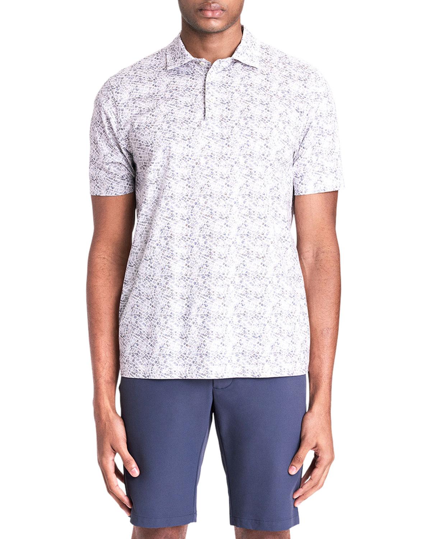 Men's OoohCotton Tech Mosaic-Print Polo Shirt