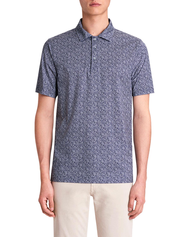 Men's OoohCotton Tech Leaf-Print Polo Shirt