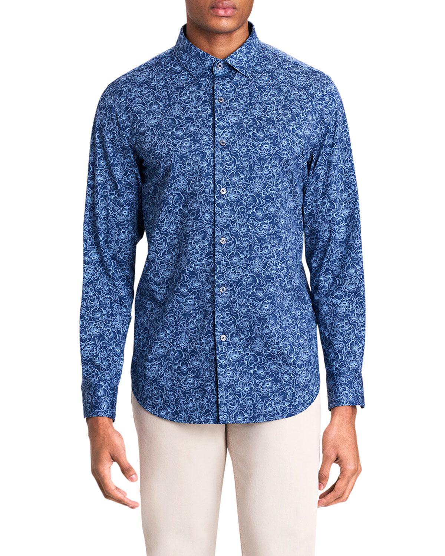 Men's Floral Tech Long-Sleeve Sport Shirt