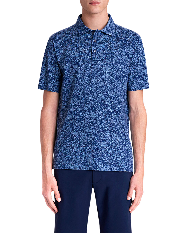 Men's Floral-Print Performance Polo Shirt