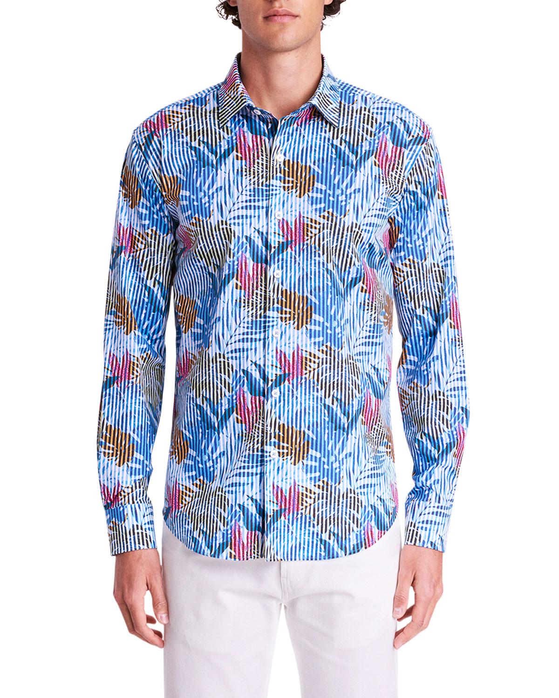 Men's Striped Jungle-Print Sport Shirt