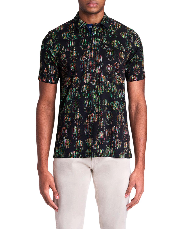 Men's Digital Skull-Print Polo Shirt