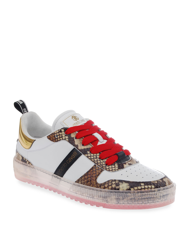 Men's Snake-Print Low-Top Sneakers w/ Clear-Sole