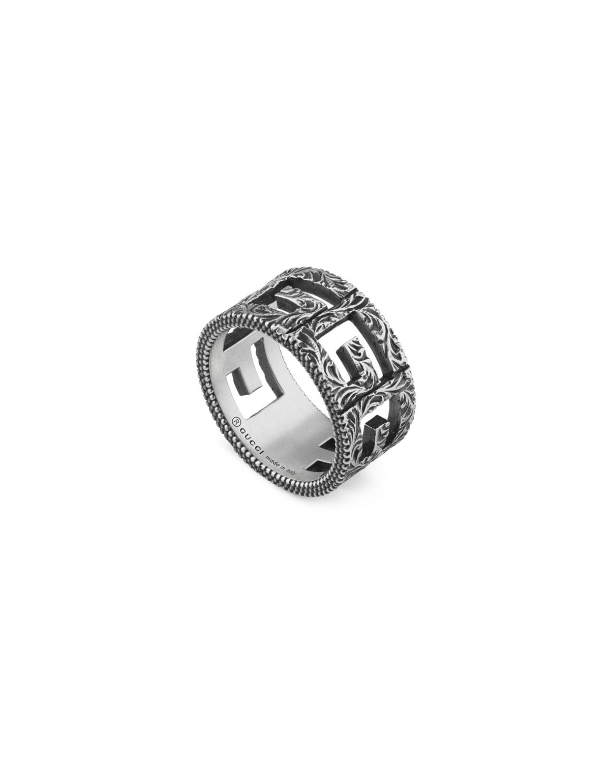 Textured Square G Silver Ring