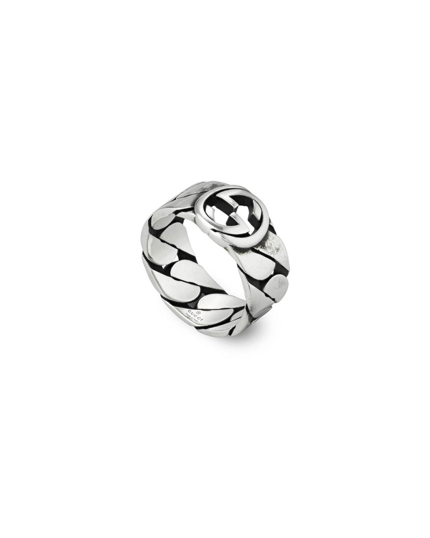 Men's Interlocking G Textured Silver Ring