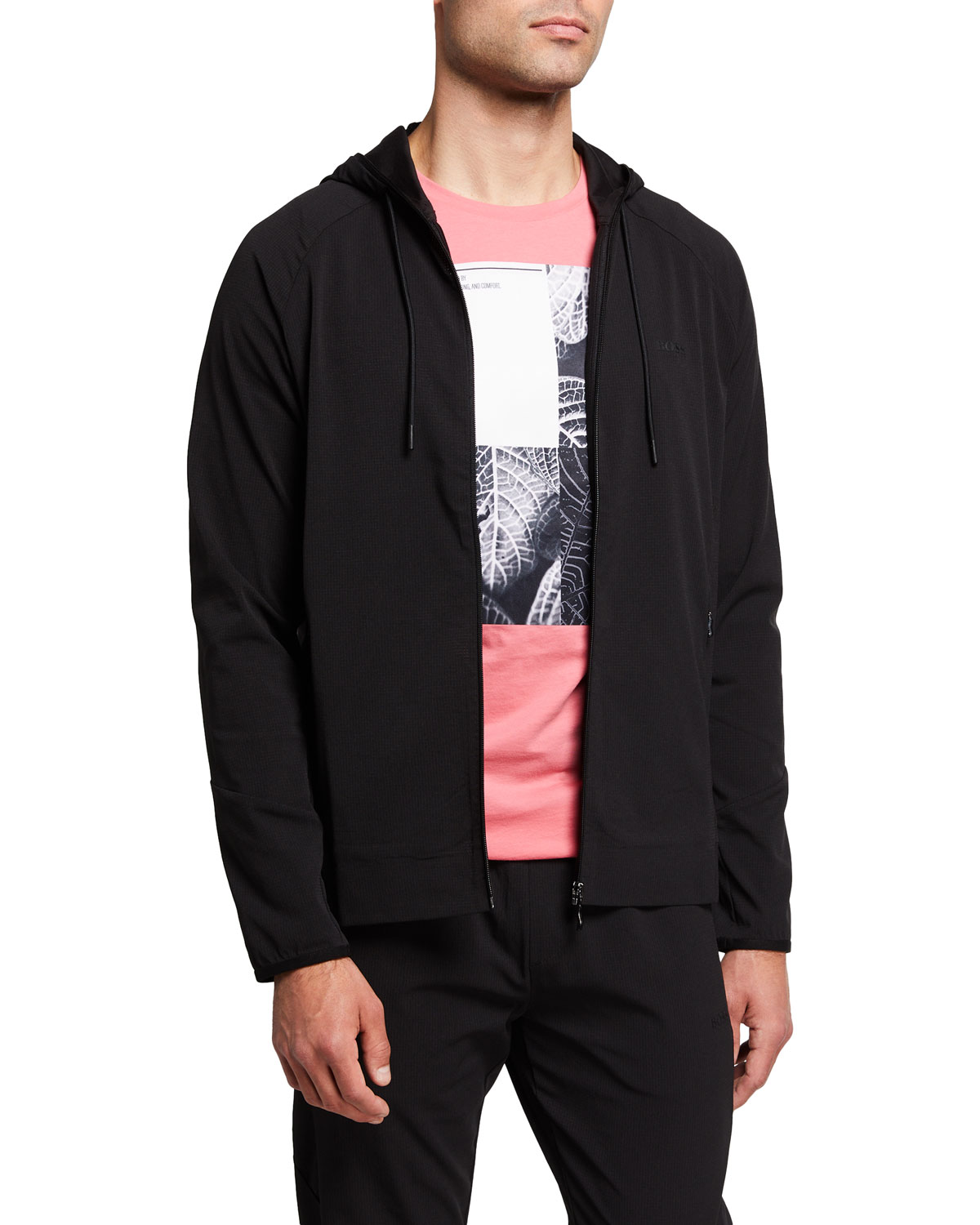 Men's Solid Recycled Hooded Jacket