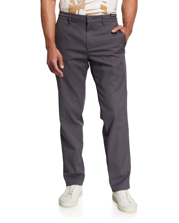 Men's Solid Straight-Leg Tech Trousers