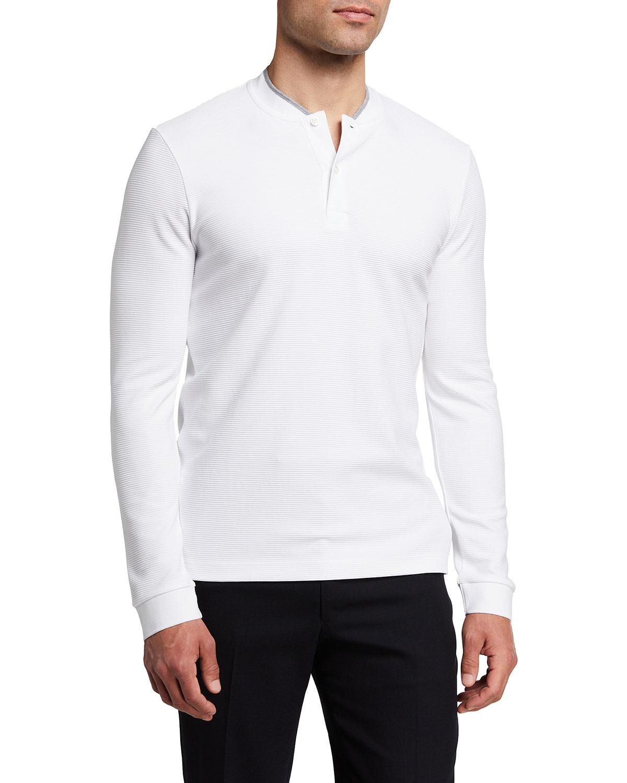 Men's Textured Solid Long-Sleeve T-Shirt