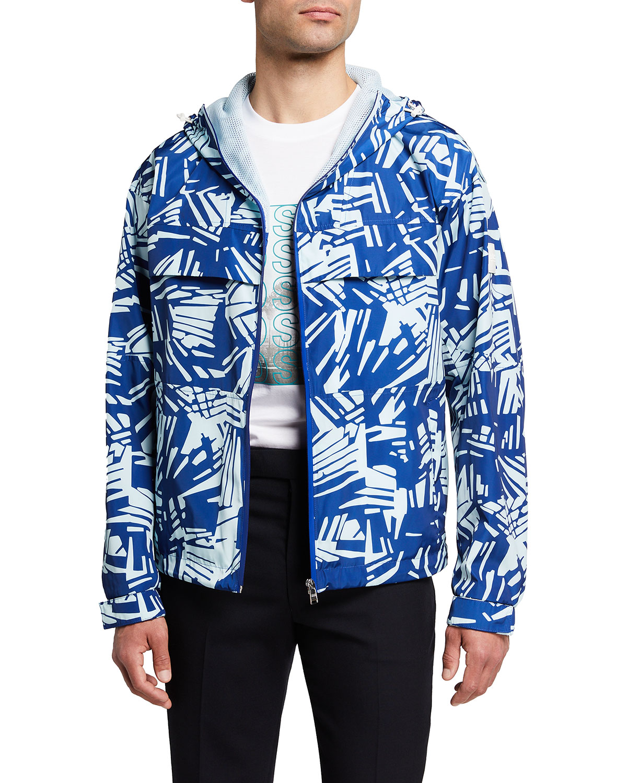 Men's Patterned Full-Zip Hooded Jacket