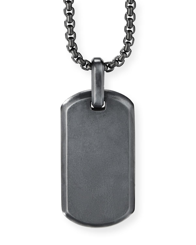 Men's Streamline Black Titanium Tag Enhancer Pendant