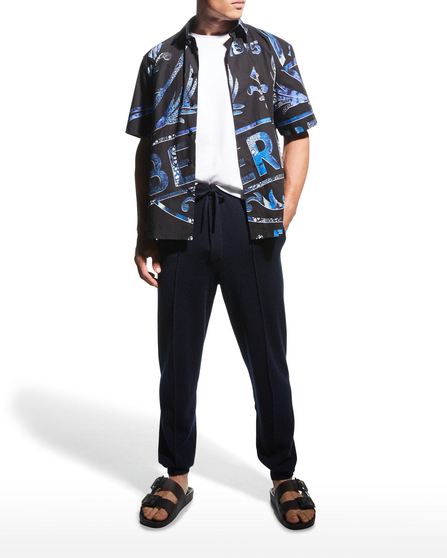 Men's Cotton T-Shirt w/ Leather Logo Strip