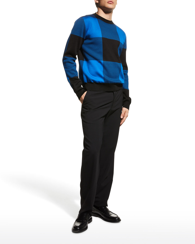 Men's Large Buffalo Check Crew Sweater