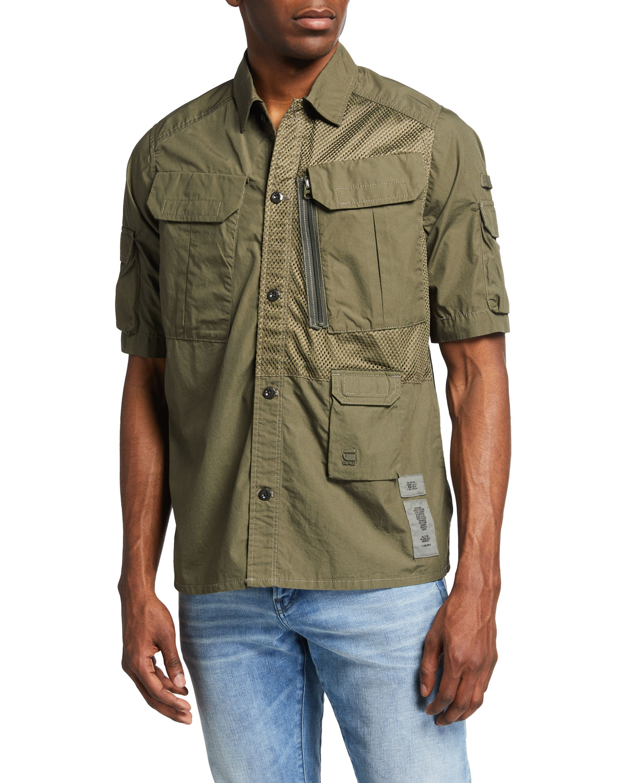 Men's Poplin Multi-Pocket Utility Shirt