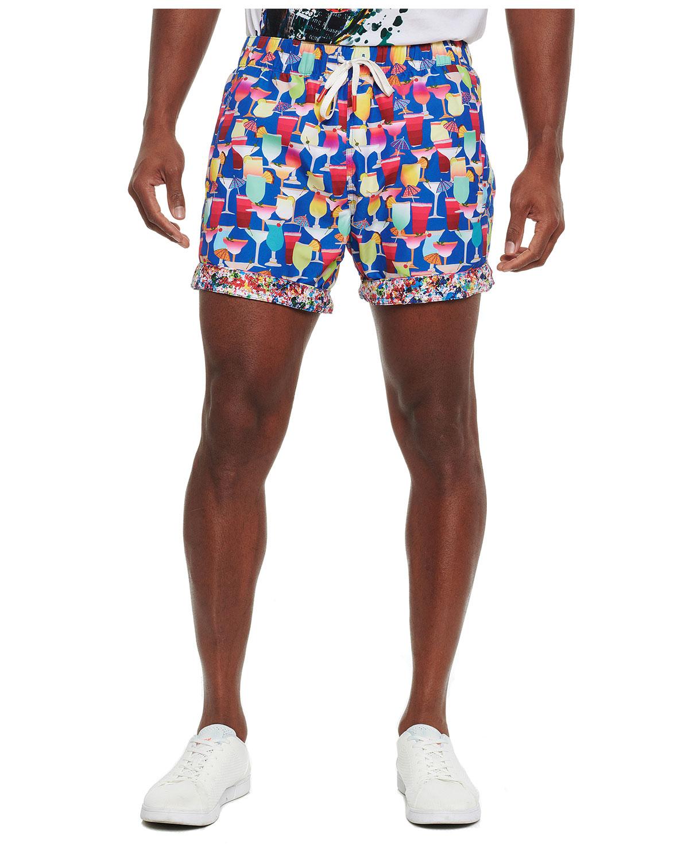 Men's Poolside Drinks Cocktail-Print Swim Shorts