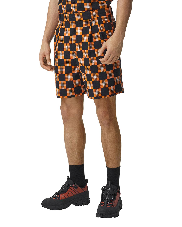 Men's Checkerboard Tailored Shorts
