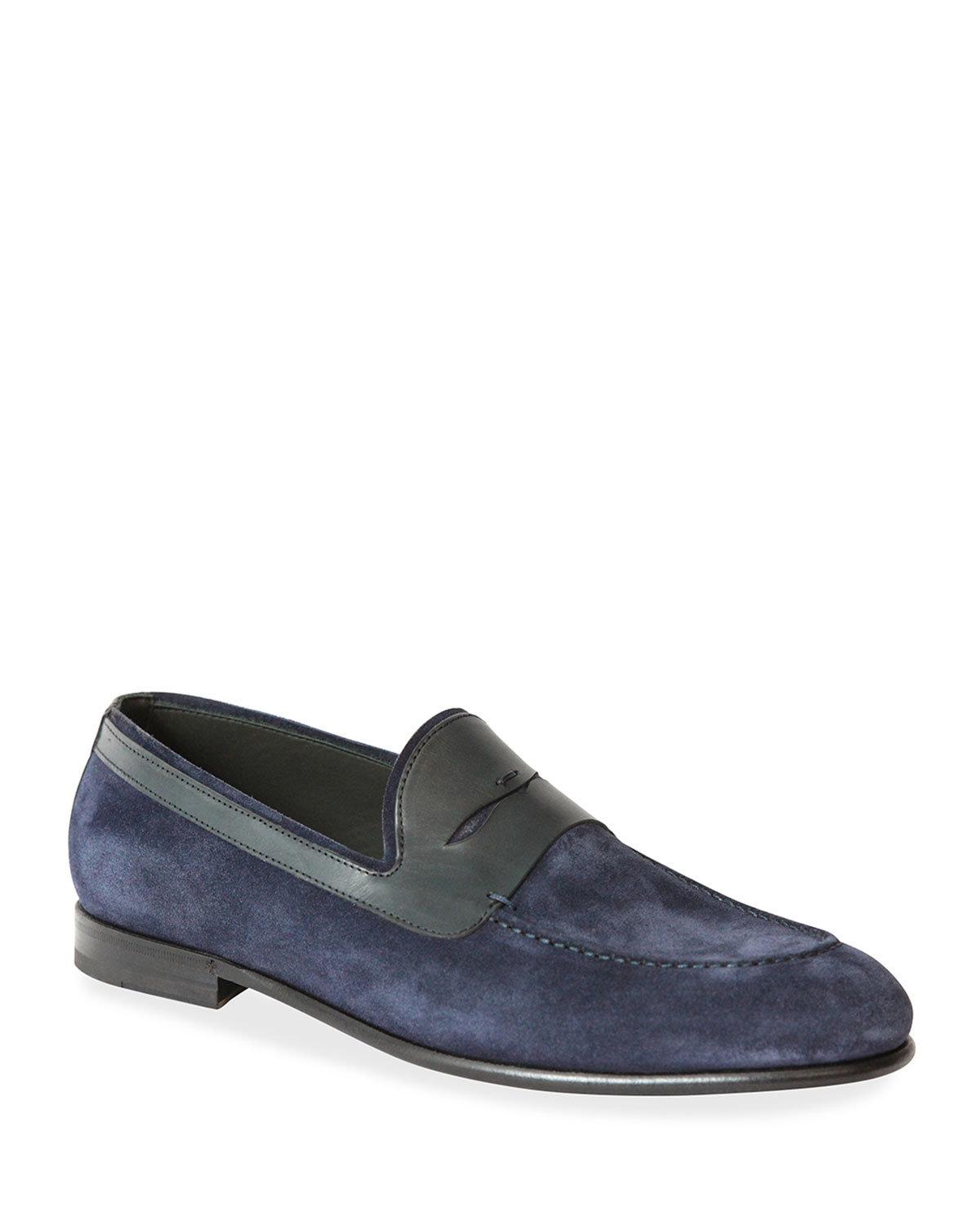 Men's Suede Penny Loafers, Blue