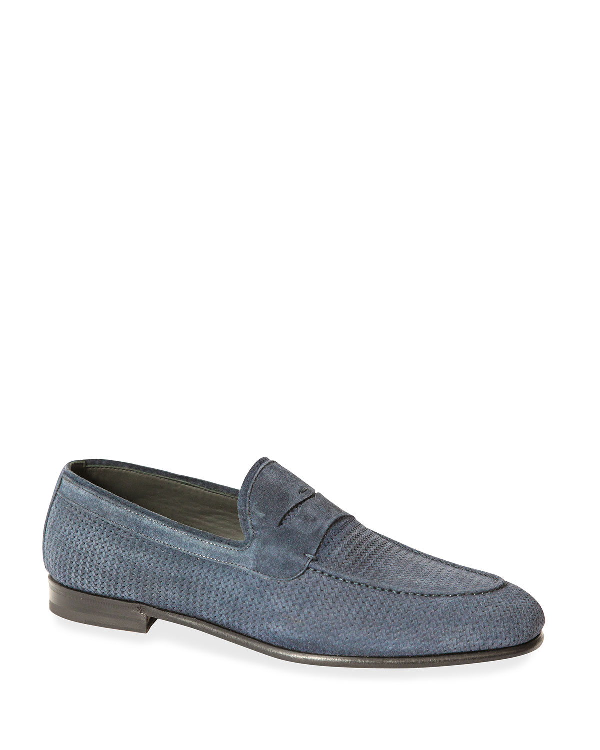 Men's Woven Mix-Leather Penny Loafers