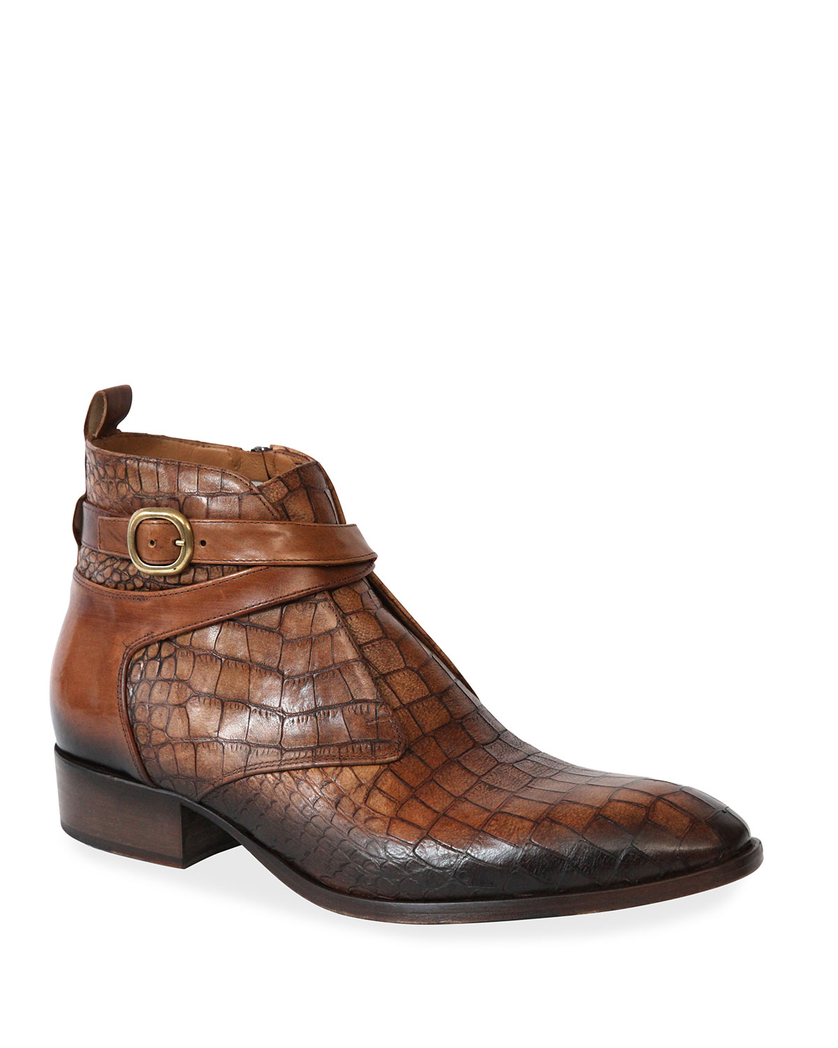 Men's Croc-Embossed Buckle Ankle Boots