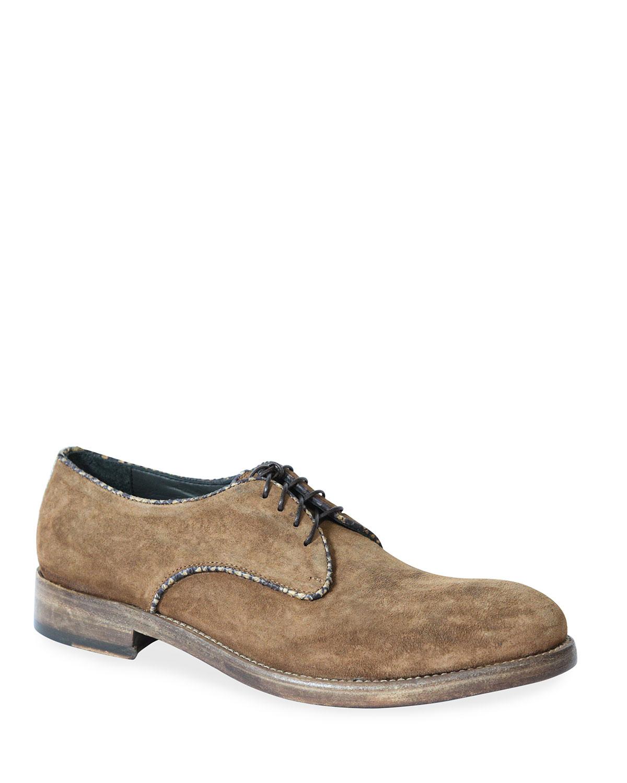 Men's Washed Suede Lace-Up Shoes w/ Python Trim