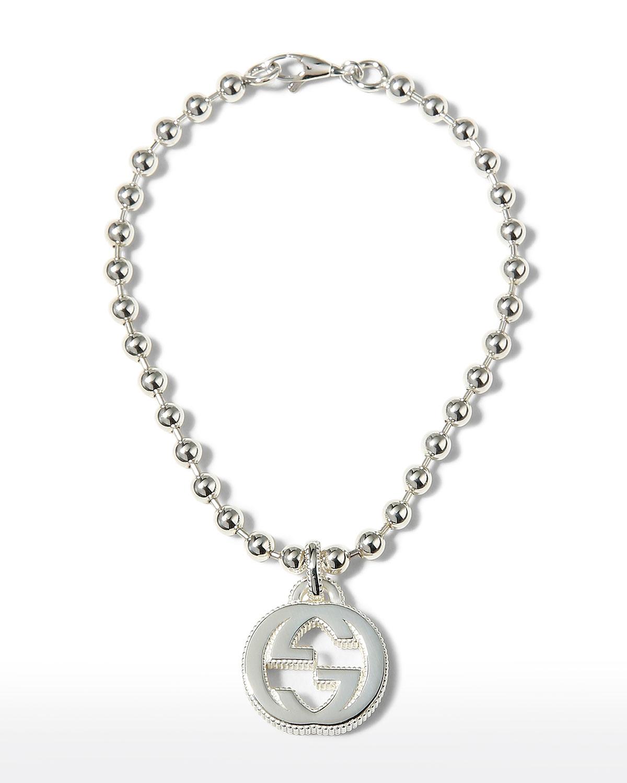 Interlocking G Silver Bead Bracelet