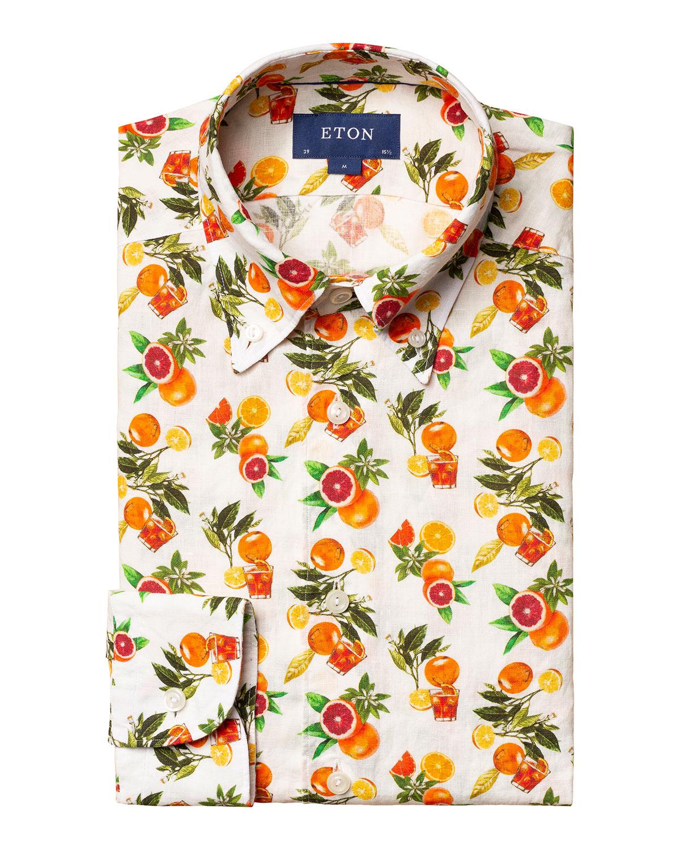 Men's Citrus-Print Slim-Fit Sport Shirt