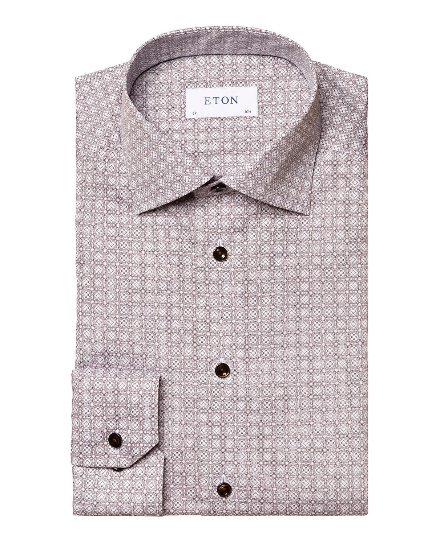 Men's Medallion-Print Contemporary-Fit Sport Shirt