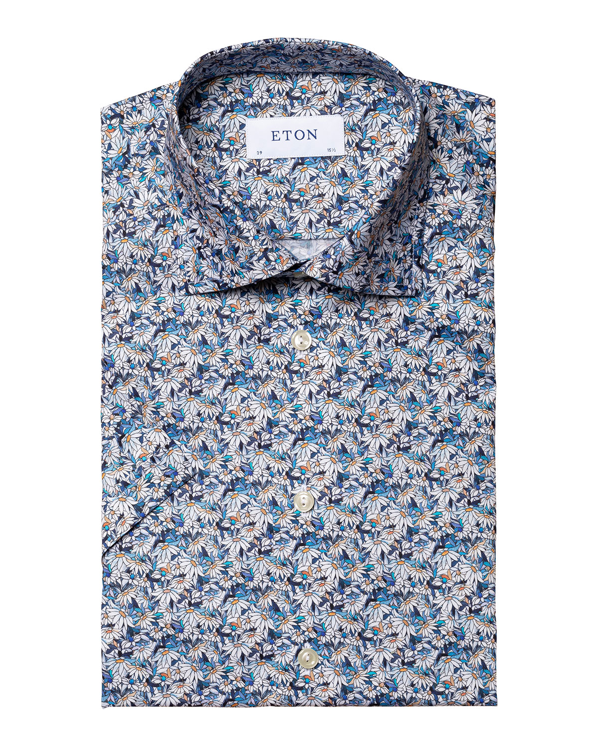 Men's Stained Glass Floral-Print Short-Sleeve Sport Shirt