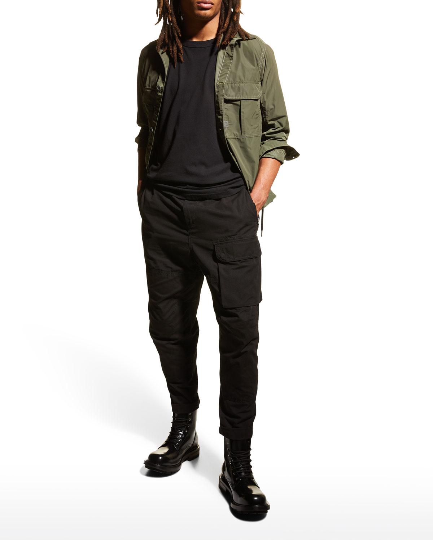 Men's Belted Solid Cargo Pants