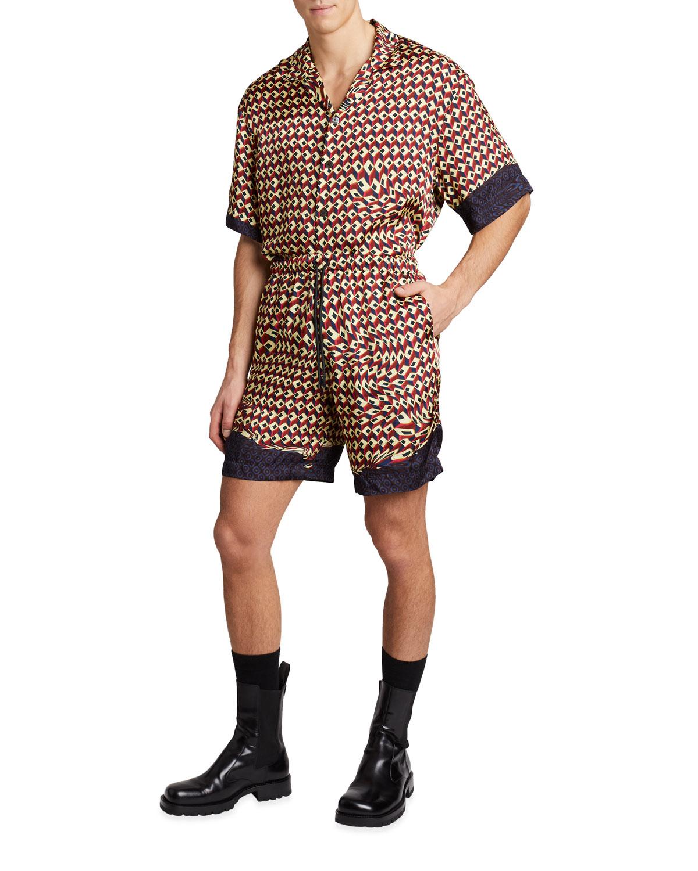 Men's Piperi Patterned Viscose Shorts