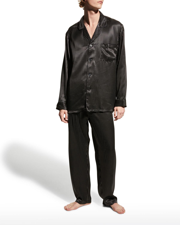 Men's Dotted Silk Pajama Pants
