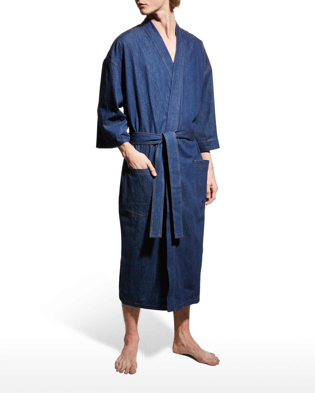 Men's Jasper Terry-Lined Denim Kimono Robe