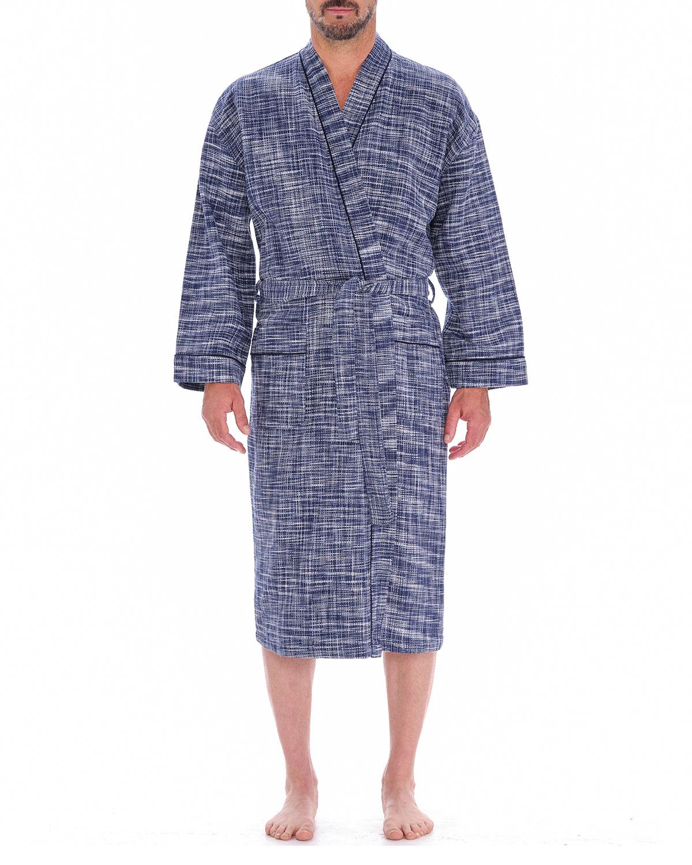 Men's Heathered Waffle-Knit Kimono Robe