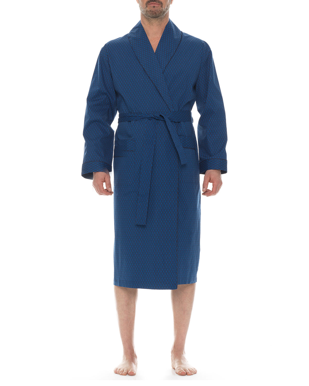Men's Patterned Cotton Shawl Robe