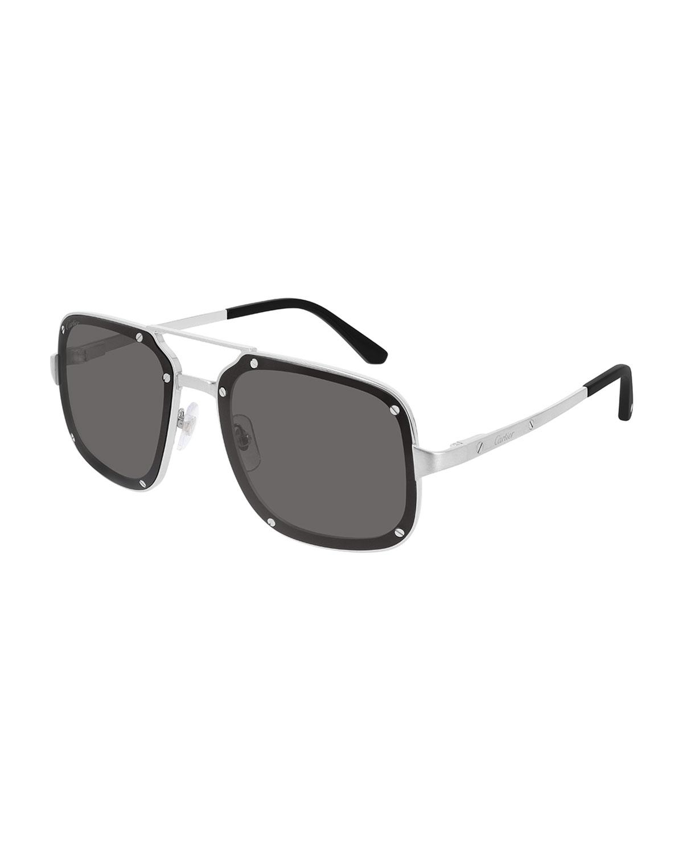 Men's Studded Square Double-Bridge Sunglasses