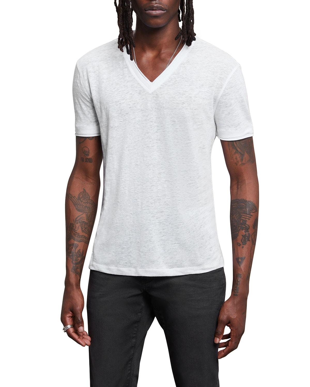 Men's V-Neck Linen T-Shirt