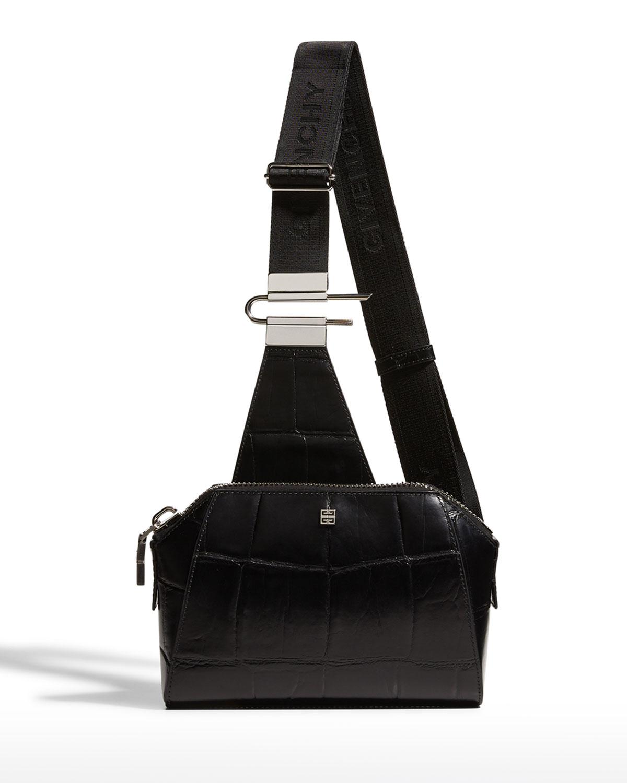 Men's Antigona U Croc-Embossed Leather Crossbody Bag
