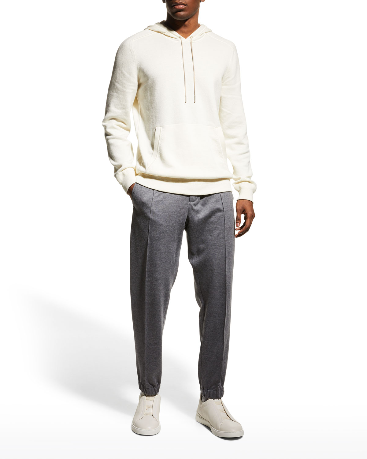 Men's Solid Cotton-Cashmere Pullover Hoodie