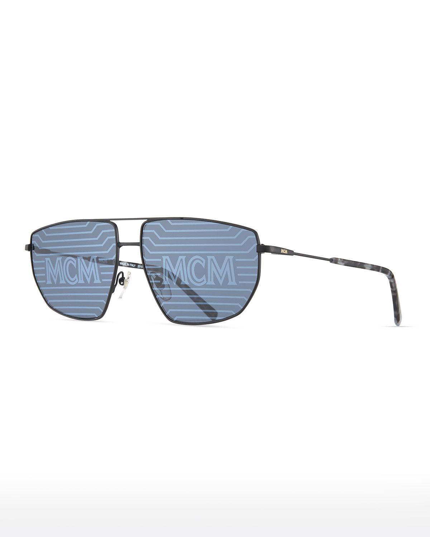 Men's Holographic Metal Aviator Sunglasses