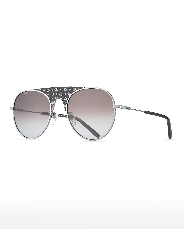 Men's Gradient Aviator Sunglasses w/ Leather
