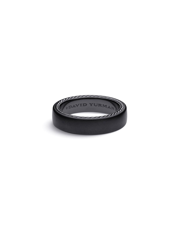 Men's Streamline 6mm Black Titanium & Silver Band Ring