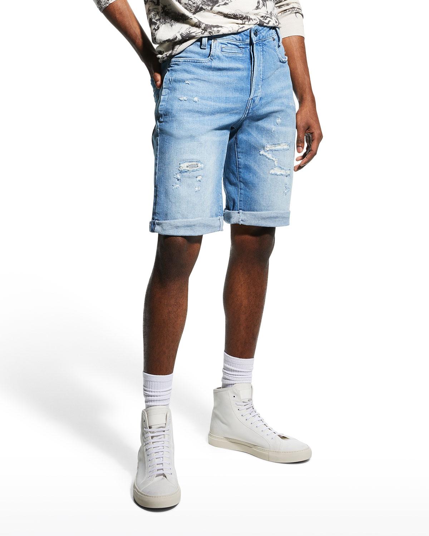 Men's D-Staq Distressed Denim Shorts