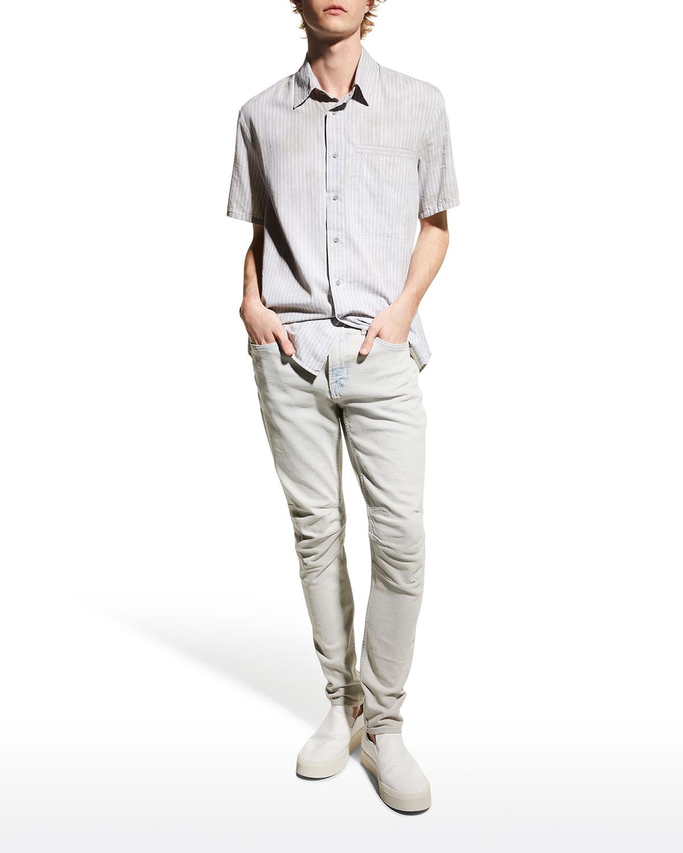 Men's Zack Slim Light-Wash Moto Jeans