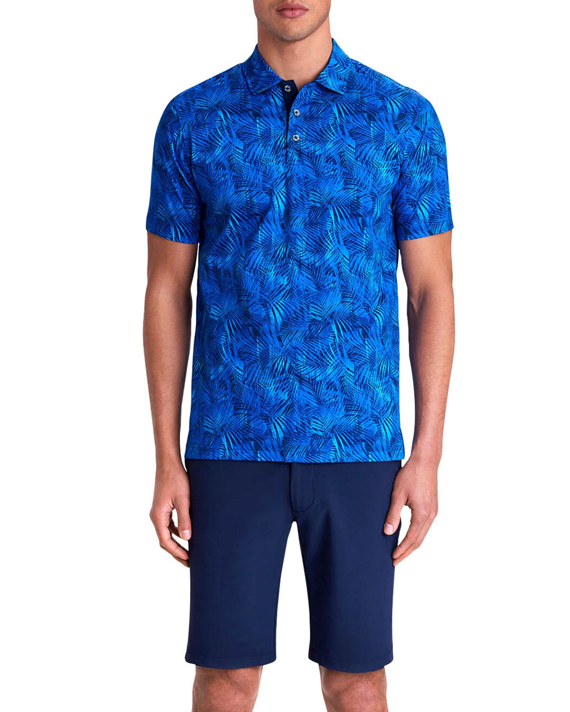 Men's Leaves Digital-Print Polo Shirt