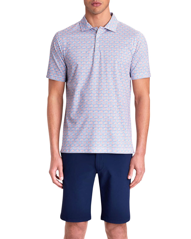 Men's Mini Check-Print Tech Polo Shirt