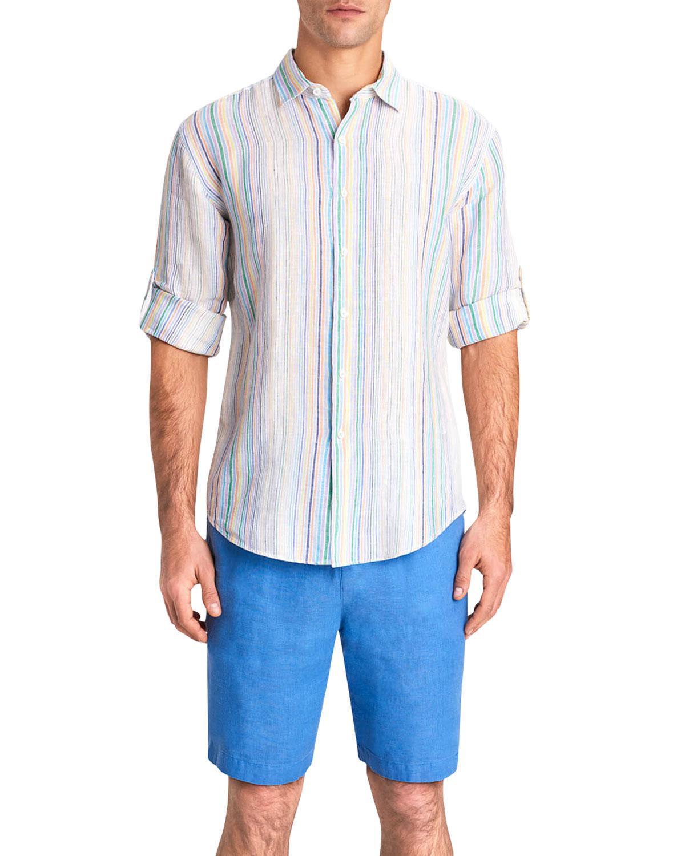 Men's Multi-Stripe Linen Sport Shirt