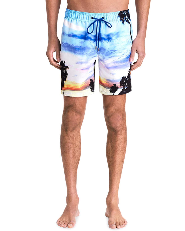 Men's Tropical Horizon-Print Swim Trunks