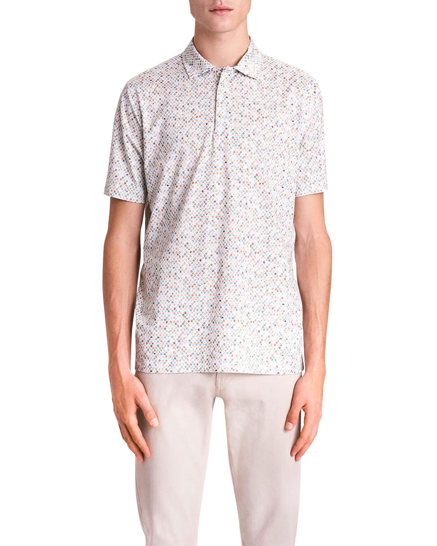 Men's OoohCotton Tech Abstract Diamond-Print Polo Shirt
